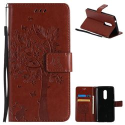 Embossing Butterfly Tree Leather Wallet Case for ZTE Axon 7 - Brown