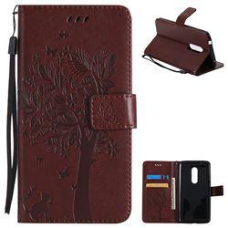 Embossing Butterfly Tree Leather Wallet Case for ZTE Axon 7 - Coffee