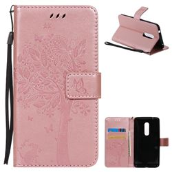 Embossing Butterfly Tree Leather Wallet Case for ZTE Axon 7 - Rose Pink