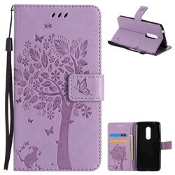 Embossing Butterfly Tree Leather Wallet Case for ZTE Axon 7 - Violet