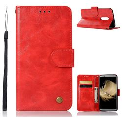 Luxury Retro Leather Wallet Case for ZTE Axon 7 - Red
