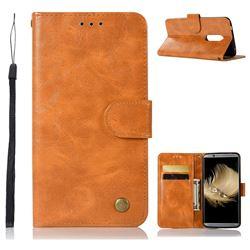 Luxury Retro Leather Wallet Case for ZTE Axon 7 - Golden