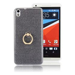Luxury Soft TPU Glitter Back Ring Cover with 360 Rotate Finger Holder Buckle for HTC Desire 816 D816 - Black