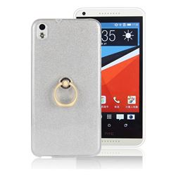 Luxury Soft TPU Glitter Back Ring Cover with 360 Rotate Finger Holder Buckle for HTC Desire 816 D816 - White