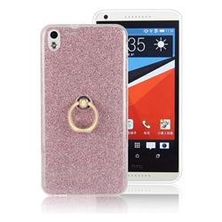 Luxury Soft TPU Glitter Back Ring Cover with 360 Rotate Finger Holder Buckle for HTC Desire 816 D816 - Pink