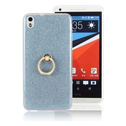 Luxury Soft TPU Glitter Back Ring Cover with 360 Rotate Finger Holder Buckle for HTC Desire 816 D816 - Blue