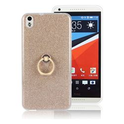 Luxury Soft TPU Glitter Back Ring Cover with 360 Rotate Finger Holder Buckle for HTC Desire 816 D816 - Golden