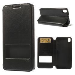 Roar Korea Noble View Leather Flip Cover for HTC Desire 816 D816 - Black