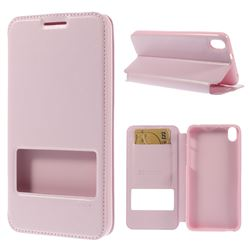 Roar Korea Noble View Leather Flip Cover for HTC Desire 816 D816 - Pink