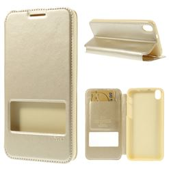Roar Korea Noble View Leather Flip Cover for HTC Desire 816 D816 - Champagne