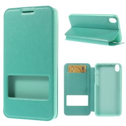 Roar Korea Noble View Leather Flip Cover for HTC Desire 816 D816 - Cyan
