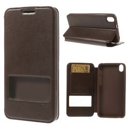 Roar Korea Noble View Leather Flip Cover for HTC Desire 816 D816 - Coffee