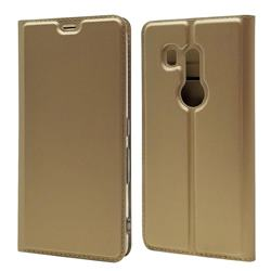 Ultra Slim Card Magnetic Automatic Suction Leather Wallet Case for FUJITSU Docomo Arrows Be3 F-02L - Champagne