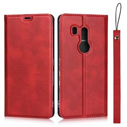 Calf Pattern Magnetic Automatic Suction Leather Wallet Case for FUJITSU Docomo Arrows Be3 F-02L - Red