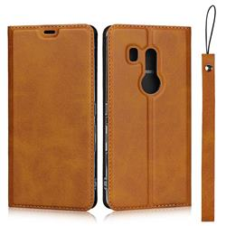 Calf Pattern Magnetic Automatic Suction Leather Wallet Case for FUJITSU Docomo Arrows Be3 F-02L - Brown
