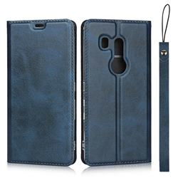 Calf Pattern Magnetic Automatic Suction Leather Wallet Case for FUJITSU Docomo Arrows Be3 F-02L - Blue