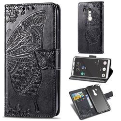 Embossing Mandala Flower Butterfly Leather Wallet Case for FUJITSU Docomo Arrows Be3 F-02L - Black