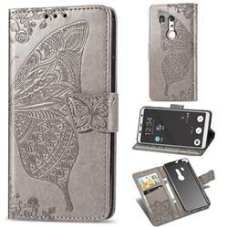 Embossing Mandala Flower Butterfly Leather Wallet Case for FUJITSU Docomo Arrows Be3 F-02L - Gray