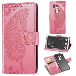 Embossing Mandala Flower Butterfly Leather Wallet Case for FUJITSU Docomo Arrows Be3 F-02L - Pink