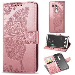 Embossing Mandala Flower Butterfly Leather Wallet Case for FUJITSU Docomo Arrows Be3 F-02L - Rose Gold