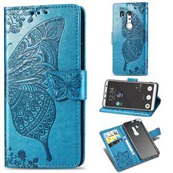 Embossing Mandala Flower Butterfly Leather Wallet Case for FUJITSU Docomo Arrows Be3 F-02L - Blue