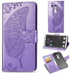 Embossing Mandala Flower Butterfly Leather Wallet Case for FUJITSU Docomo Arrows Be3 F-02L - Light Purple
