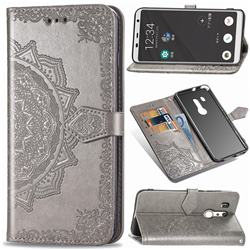 Embossing Imprint Mandala Flower Leather Wallet Case for FUJITSU Docomo Arrows Be3 F-02L - Gray
