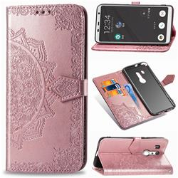 Embossing Imprint Mandala Flower Leather Wallet Case for FUJITSU Docomo Arrows Be3 F-02L - Rose Gold