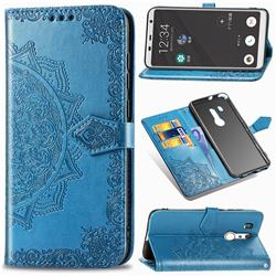 Embossing Imprint Mandala Flower Leather Wallet Case for FUJITSU Docomo Arrows Be3 F-02L - Blue