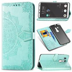Embossing Imprint Mandala Flower Leather Wallet Case for FUJITSU Docomo Arrows Be3 F-02L - Green