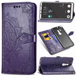 Embossing Imprint Mandala Flower Leather Wallet Case for FUJITSU Docomo Arrows Be3 F-02L - Purple
