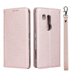 Ultra Slim Magnetic Automatic Suction Silk Lanyard Leather Flip Cover for FUJITSU Docomo Arrows Be3 F-02L - Rose Gold