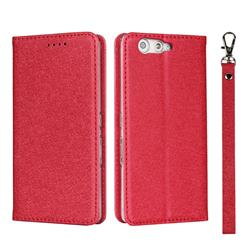 Ultra Slim Magnetic Automatic Suction Silk Lanyard Leather Flip Cover for FUJITSU Arrows Be F-05J - Red