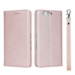 Ultra Slim Magnetic Automatic Suction Silk Lanyard Leather Flip Cover for FUJITSU Arrows Be F-05J - Rose Gold