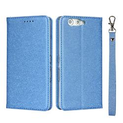 Ultra Slim Magnetic Automatic Suction Silk Lanyard Leather Flip Cover for FUJITSU Arrows Be F-05J - Sky Blue