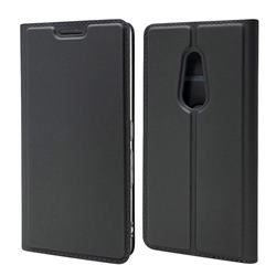Ultra Slim Card Magnetic Automatic Suction Leather Wallet Case for FUJITSU Docomo Arrows Be4 F-41A - Star Grey