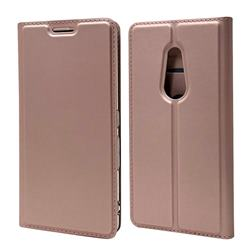 Ultra Slim Card Magnetic Automatic Suction Leather Wallet Case for FUJITSU Docomo Arrows Be4 F-41A - Rose Gold