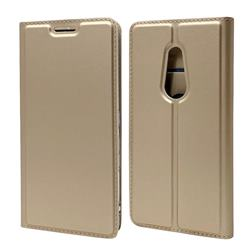 Ultra Slim Card Magnetic Automatic Suction Leather Wallet Case for FUJITSU Docomo Arrows Be4 F-41A - Champagne