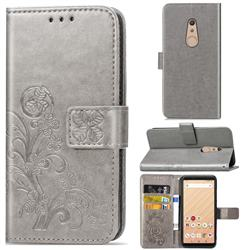 Embossing Imprint Four-Leaf Clover Leather Wallet Case for FUJITSU Docomo Arrows Be4 F-41A - Grey
