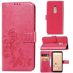 Embossing Imprint Four-Leaf Clover Leather Wallet Case for FUJITSU Docomo Arrows Be4 F-41A - Rose Red