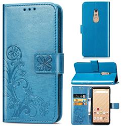 Embossing Imprint Four-Leaf Clover Leather Wallet Case for FUJITSU Docomo Arrows Be4 F-41A - Blue