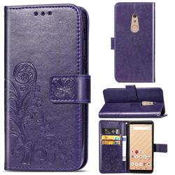 Embossing Imprint Four-Leaf Clover Leather Wallet Case for FUJITSU Docomo Arrows Be4 F-41A - Purple