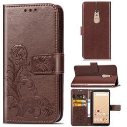 Embossing Imprint Four-Leaf Clover Leather Wallet Case for FUJITSU Docomo Arrows Be4 F-41A - Brown