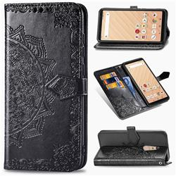 Embossing Imprint Mandala Flower Leather Wallet Case for FUJITSU Docomo Arrows Be4 F-41A - Black
