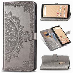 Embossing Imprint Mandala Flower Leather Wallet Case for FUJITSU Docomo Arrows Be4 F-41A - Gray