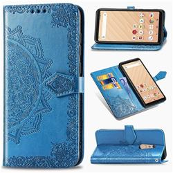 Embossing Imprint Mandala Flower Leather Wallet Case for FUJITSU Docomo Arrows Be4 F-41A - Blue