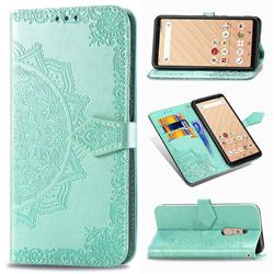 Embossing Imprint Mandala Flower Leather Wallet Case for FUJITSU Docomo Arrows Be4 F-41A - Green