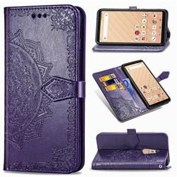 Embossing Imprint Mandala Flower Leather Wallet Case for FUJITSU Docomo Arrows Be4 F-41A - Purple