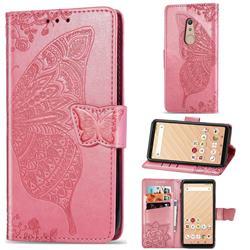 Embossing Mandala Flower Butterfly Leather Wallet Case for FUJITSU Docomo Arrows Be4 F-41A - Pink