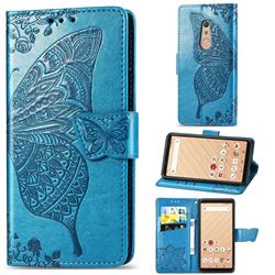 Embossing Mandala Flower Butterfly Leather Wallet Case for FUJITSU Docomo Arrows Be4 F-41A - Blue